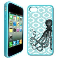 Octopus Aqua Ikat Hipster Blue Silicon Case Bumper iPhone 4 Case Fits iPhone 4 & iPhone 4S