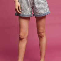 Striped Chambray Shorts