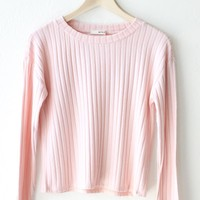 Long Sleeve Ribbed Crop Top - Dusty Pink