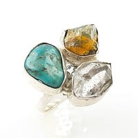 Herkimer Diamond, Ethiopian Opal Rough & Turquoise Sterling Silver Ring