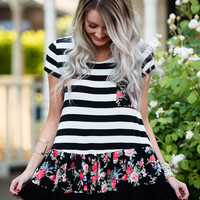 Mommy Striped and Floral Ruffle Top Black