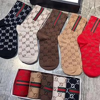 Gucci Couple Fashion Casual Sport 100% Cotton Socks+Gift Box
