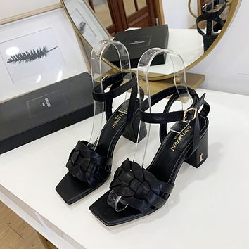 ysl women casual shoes boots fashionable casual leather women heels sandal shoes 230