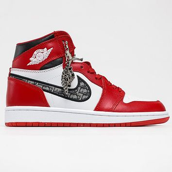 Dior x Nike Air Jordan 1 Retro High OG Chicago Men's and Women's Sneakers Shoes Red