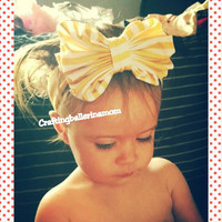 Choose Your Color Baby Headband - Head Wrap - Bow Headband - Messy Bow - Stripe - Yellow White - Pink Lemonade - Photo - Hair Clip