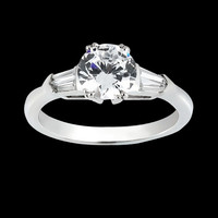 1.83 carat Round & baguette diamond three stone style anniversary ring