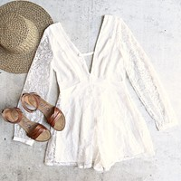 Lace Overlay Romper in White