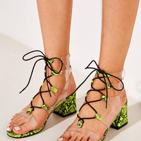 Snakeskin Lace-Up Front Block Heeled Sandals