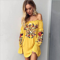 Off-The-Shoulder Embroidered Dress
