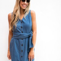 Chambray Button Down Midi Dress