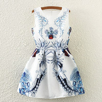White Jewelry Print Neck Sleeveless Skater Dress