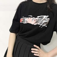2018 Summer Korean Ulzzang Women T-shirt Punk Japanese Harajuku Cartoon Oversized Female T Shirts Gothic Loose Street Tops 0520