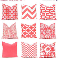 SALE Coral Pillow Cover One Decorative Throw Pillow Cover Beach Decor Coral Chevron Pillow Coral Solid Coral Collection Bedroom Pillows
