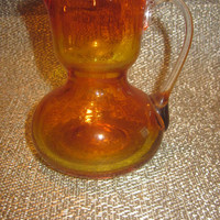 Amberina Glass Pitcher, Small Mini Art Glass Pitcher, Vintage Miniature Hand Blown Pitcher, Rough Pontil, Home Decor, Collectible Glass