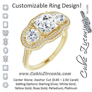 Cubic Zirconia Engagement Ring- The Iekika (Customizable 3-stone Asscher Cut Design with Multi-Halo Enhancement and 150+-stone Pavé Band)