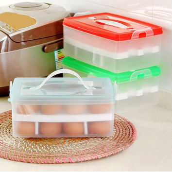 Egg Food Container Storage Box 24 grid Bilayer Basket Organizer Home Kitchen Gadgets Items Accessories Supplies Products
