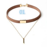 New Black Velvet Choker Necklace Gold Chain Bar Chokers Chocker Necklace For Women collares mujer collier ras du cou -03328