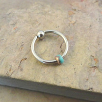Copper and Teal Beaded Cartilage Hoop Earring Boho Tragus Helix Piercing CBR
