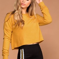 Sammi Mustard Knit Crop Sweater