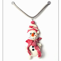 CHRISTMAS SALE Snowman Charm Necklace, Christmas Jewelry, Stocking Stuffer, Christmas Gift, December Gifts, Gift For Sister, Festive Jewelry