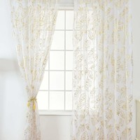 Feather Bronzing Rod Pocket Sheer Mesh Curtain 1pc