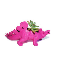 Up-cycled Hot Pink Stegosaurus Dinosaur Planter
