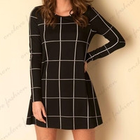 Casual Plaid Pattern Long Sleeve Mini Skater Dress