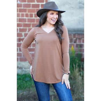 {Dk Camel} Best Basic V-neck Long Sleeve Tunic Top