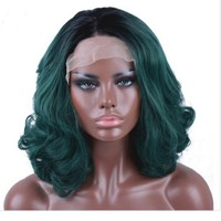 Ombre Short Synthetic Lace Front Wig Natural Wavy Heat Resistant