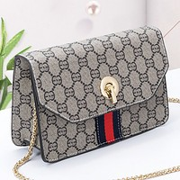 Fashion New Stripe More Letter Leather Chain Shoulder Bag Crossbody Bag Women