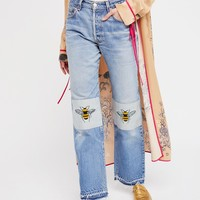 Free People Bee's Knees Embroidered Jean