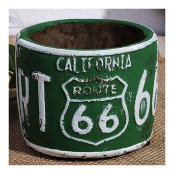 America Vintage 66 Route Car Plate Ashtray Succulent Pot     green
