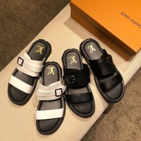 LV Louis Vuitton Men's Leather Sandals-KUYOU