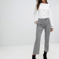 Mango Check Kick Flare Trousers at asos.com