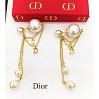 DIOR New Fashion Women Chain Tassel Pearl Pendant Earrings Jewelry Accessories