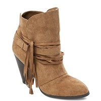 Microsuede Fringed Bootie by Qupid