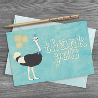 Watercolor Ostrich Thank You Card, Wildlife Cards, Yellow Blue Bird Thank You Cards, Printable Birthday Party Card, Digital Wild Animal Card