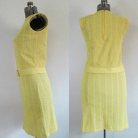 Mad Men Two Piece Skirt Top Set Yellow Boucle Knit Evan-Picone Vintage
