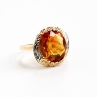 Vintage 14k Rosy Yellow Gold Citrine Ring - Size 7 1/2  Orange Brown Gem White Gold Flower Accent Two Tone Statement 5 Carat Fine Jewelry