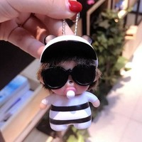 Cool Backpack school Super Cool Sunglasses Monchichi Key Chain Pendant For Backpack Ornament Bag Handbag Charms Accessory Small Gift For Friend AT_52_3