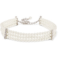 Kenneth Jay Lane - Silver-plated, faux pearl and crystal choker