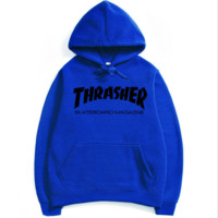 """Thrasher""Fashion print blouse casual hooded sweater Blue black print(4 color)"