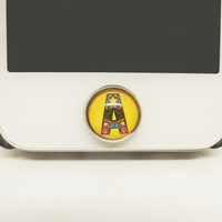 1PC Epoxy Glass Time Gems Alloy Name Alphabet Cell Phone Home Button Sticker Charm for iPhone 4s,4g,5,5c,6 iPad Mini,2,3,4 Friend Gift