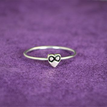 Silver Monogram Infinity Heart Ring