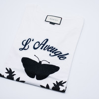 Gucci White Cotton T-shirt with Embroideries