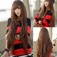 Womens Sexy Fashion Brown Cosplay Long Loose Wavy Curly Hair Full Wig Wigs 90cm