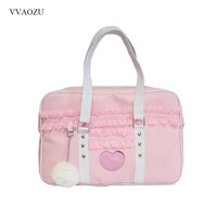 Japan Harajuku Kawaii Shoulder Bag Women JK Lace Ruched Handbag Lolita Transparent Heart Hand Bag with Plush Pendant