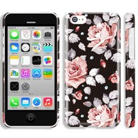5c case for girl, Akna Retro Floral Series**[Vintage Floral Pattern]**[Glossy Snap On]**[Lovely Girl Case] Back Case for iPhone 5C - [Berlin Black]