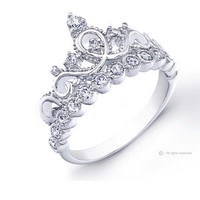 Rhodium-plated 925 Sterling Silver Crown Ring / Princess Ring - Sears