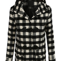 LE3NO Womens Plaid Toggle Duffle Pea Coat Jacket with Hoodie (CLEARANCE)